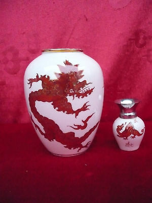2 Beautiful, Old Decorative Vases __ Hand Painting__Red Dragon __