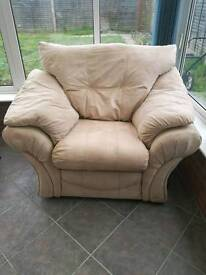 Beige suede couch, recliner, and chair