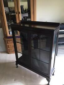 Dark Cherry Wood Glass Cabinet