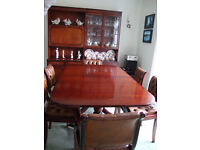 Reproduction Mahogany Dining Room set consisting of extending table, six chairs and Dresser.
