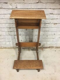 Late Victorian Golden Oak Prayer Kneeling Lectern Stand From A Church- Gothic Rare Original Piece!!