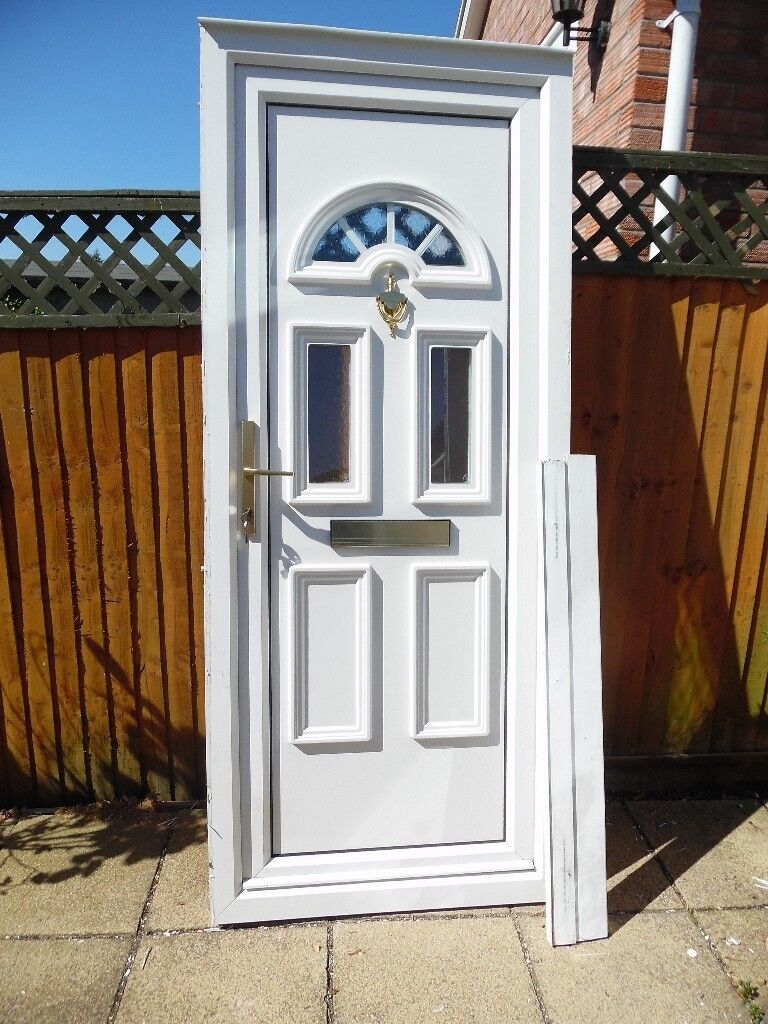 Rahaul white upvc double glazed front door c w arch in - Upvc double front exterior doors ...