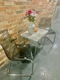 Lovely patio set for sale-folding table with marble effect top and 2 chairs for sale.