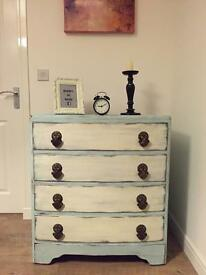 Elegant Mediterranean style chest of drawers in chalk duck egg and cream finish