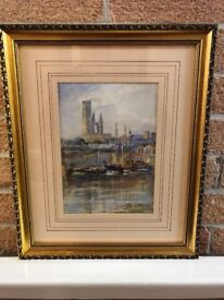 ORIGINAL WATERCOLOUR PAINTING IN GILT FRAME