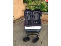 Mountain Buggy Duet, suitable from birth, can accomodate car seats, great for twins