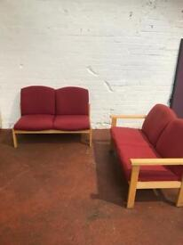 Red 2 Seater Reception Seating