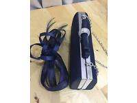 Small navy satin Clutch Bag + navy Fascinator to match. Brand new
