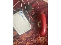 Vintage red corded telephone & answering machine