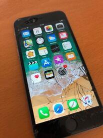 Apple iPhone 6 128GB Unlocked - Cracked Screen - Works - iOS 11 - Box