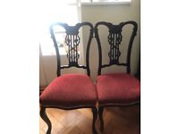 Pair of attractively carved mahogany Chippendale chairs