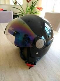 Shark open face helmet with flip visor. Classic vintage Scooter Lambretta