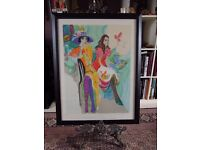 """Original Limited Edition Framed Serigraph by Isaac Maimon - """"Les Coquettes"""