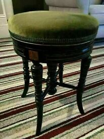 Sensible Offers... Fine Quality Antique Victorian (1880) Ebonised Adjustable Piano Stool Music Seat