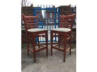 Matching Pair Of Bar Chairs - Pair Of Bar Stools - Tall Bar Chairs