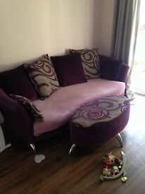 4 seater dfs - nikita- sofa and poufe, throw also included! Good condition all covers removable