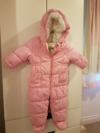 Pink 6-9 months snowsuit (BHS)