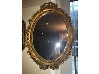 Very Pretty Ornate Gilt Carved Antique Oval Mirror Gilt Frame