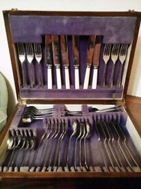 Antique Cutlery in Wooden Storage Box