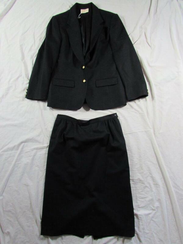 Vtg Womens Pendleton 2 Pc Suit Jacket & Skirt Wool Blazer Hollywood Sz 14 Black