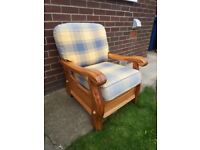 Classy Solid Wood Armchairwith tartan cuchions armchair, very heavy and clean OFFERS