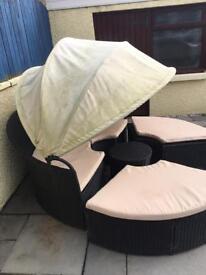 Black round garden sofa and chairs set