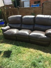 3 seater recliner sofa. Brown leather. Fully working but leg rests worn (see pictures)