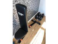 32.5kg adjustable dumbbells & bench