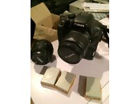 Canon 600D, with 18-55mm (3.5-5.6) lens, 50mm (1.8) lens, 12 batteries and charger