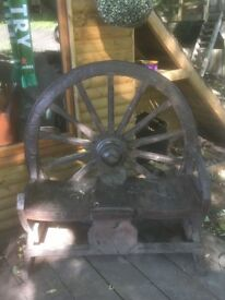 Bench rustic wagon wheel