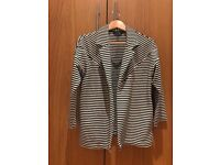 Woman Jacket, black and white stripes, Size 10UK