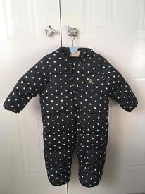 BabyGap Cute Padded Hooded Fleece Lined All In One Suit 6-12 Mths
