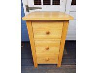 Solid Oak Bedside Cabinet Dx43.5 W44.5 H 73.0
