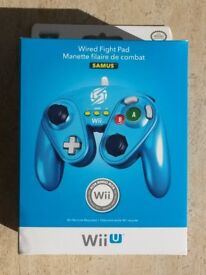 Wired Blue Fight Pad Metroid Samus Controller for Wii & Wii U