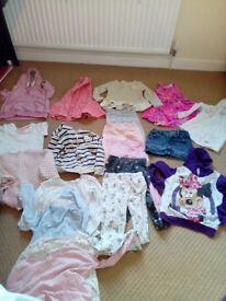Bundle of girls clothes 4-5 jumpers, tops, leggings, skit, dress