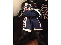 Motorcycle leathers. Suzuki blue/black