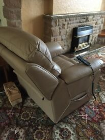 Cream Leather Electric Recliner Armchair
