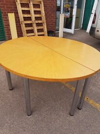 Large Oak round office meeting table , older style with chrome legs