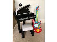 Musical Grand piano and guitar
