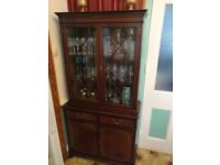 Solid wood glass cabinet vintage! Great to upcycle!