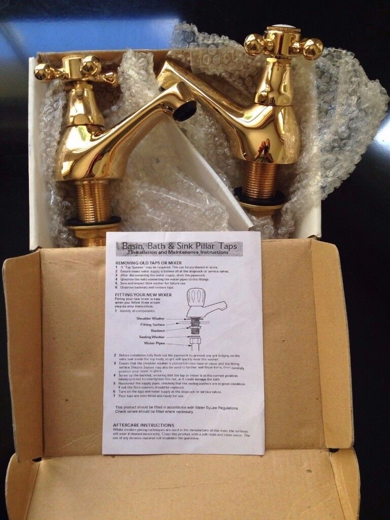 Wickes Gold Effect Como Bath Taps - Brand New in Box