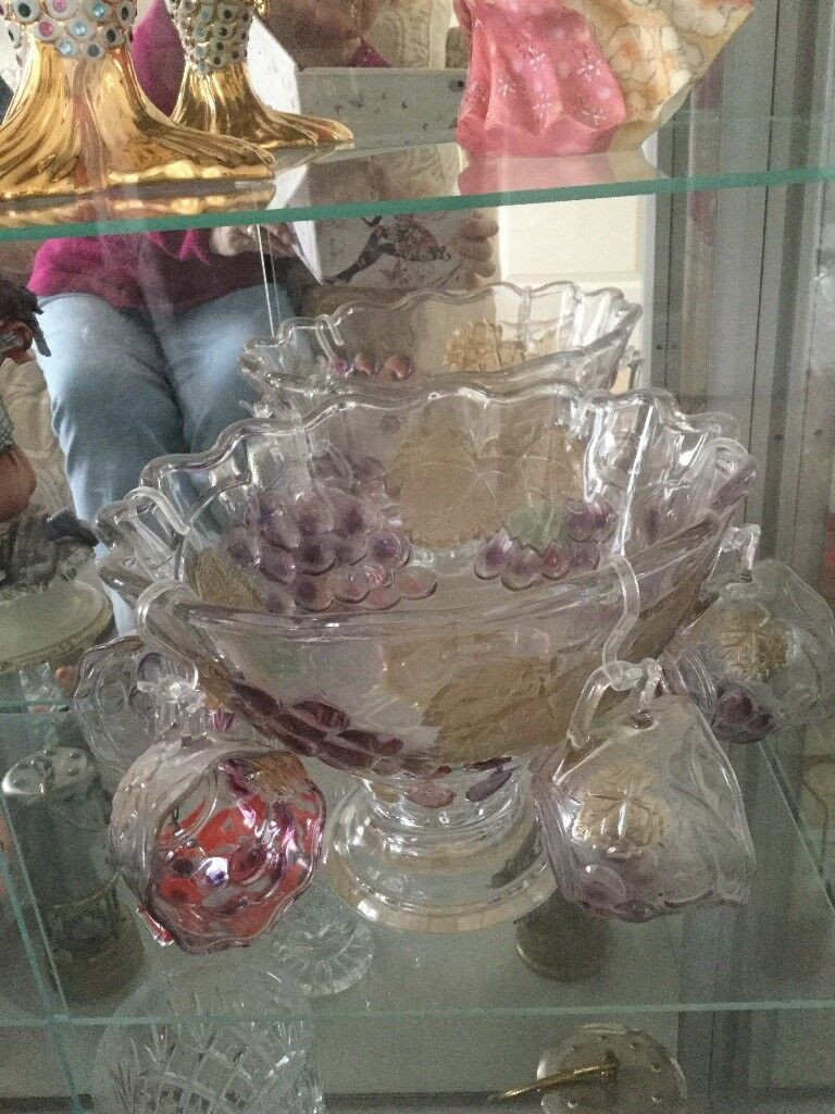 Heavy Glass Punch Bowl