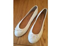 Brand new leather upper size 6 ladies white ballet pumps
