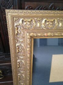 Antique Old Plaster Solid Wood Gilt Picture Frame