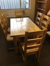 Halo solid oak table and 6 chairs