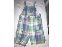 NEXT colourful check dungarees set Size 12-18 months