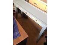 long bowed legged console painted in duck egg Table 3 drawers very nice £65