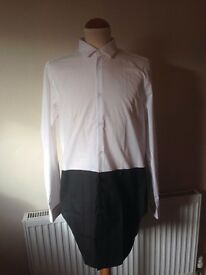 Mens White And Black Block Contrast Shirt Never Worn Size 38-40
