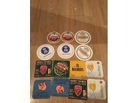 Beer mat coasters x 14 (Amstel, Budweiser, pilsner, bulmers, warstiner, etc)
