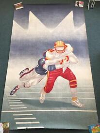 Vintage NFL Poster. American Football. And Russian Soviet Army poster. Both in good condition